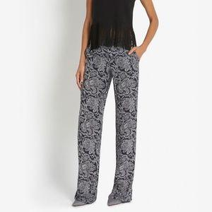 Theory Black Mitrana Paisley Print Pants
